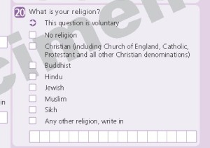 Figure 2: Question 20, concerning religion, as it appeared on the 2001 Census form in England and Wales.